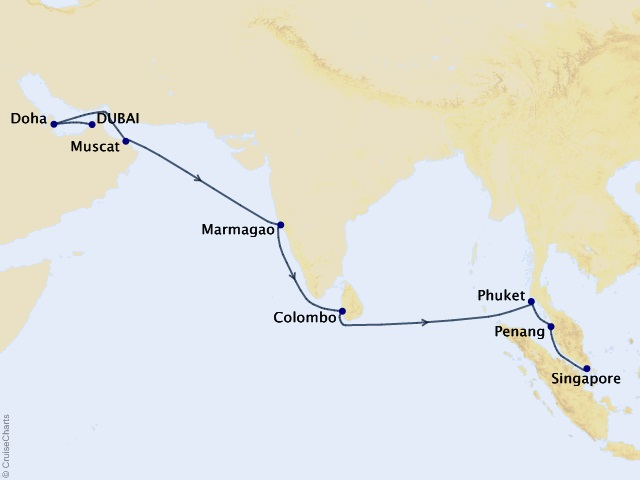 14-night World Segment-Dubai to Singapore Cruise