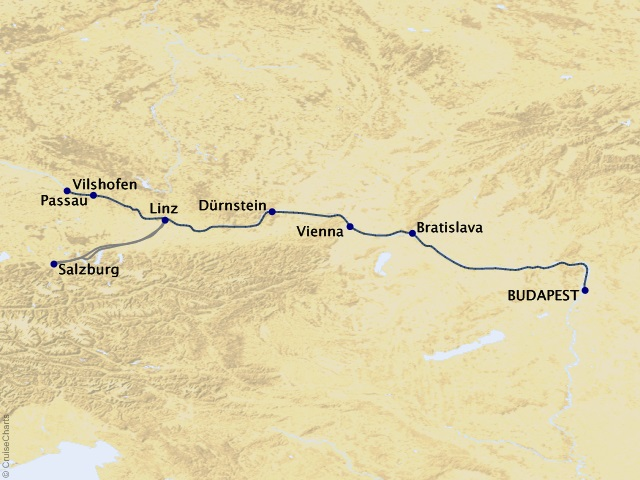 7-night Blue Danube – Family Riverboat Adventure Westbound Cruise Map