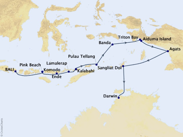 16-night Australia & New Zealand Expedition Cruise Map