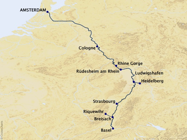 7-night Captivating Rhine Cruise Map