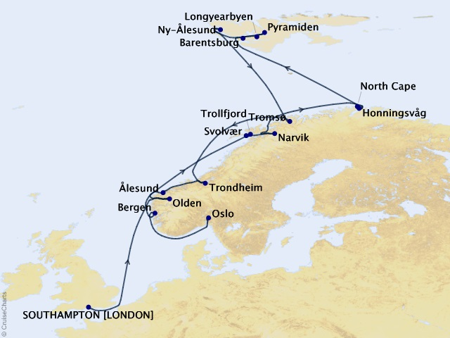 18-night Norway Intensive and Svalbard Voyage Map