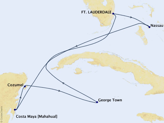 7-night Bahamas, Mexico and Grand Cayman Cruise Itinerary Map