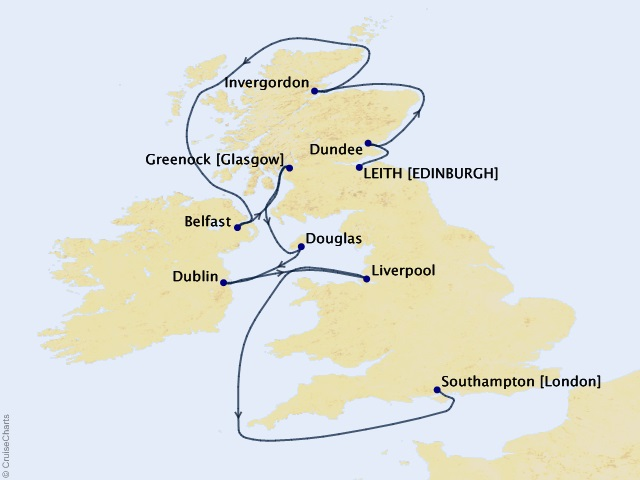 12-night British Isles and Golf Voyage Map