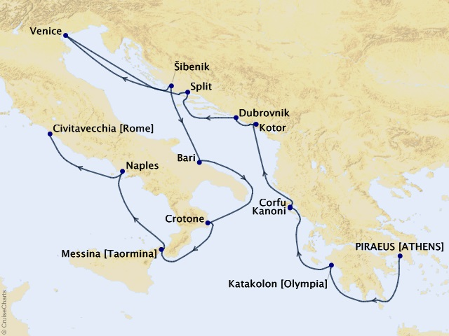 14-night Italy, the Adriatic, and Greece Cruise Map