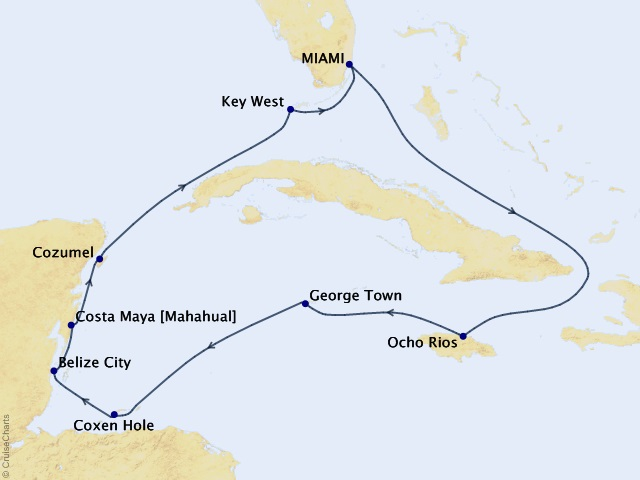10-night Sunkissed Tradewinds Cruise Map