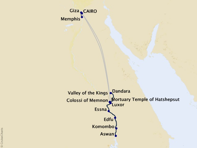 11-night Splendors of Egypt and the Nile Cruise/Land Package Map