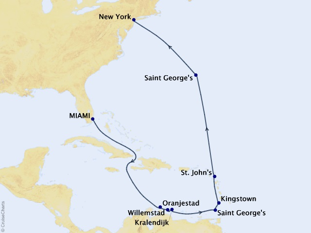 15-night Bonaire, Bermuda, & Brooklyn Cruise Map