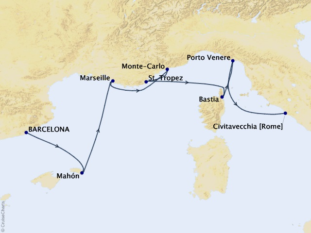 7-night Romance of the Rivieras Cruise Map