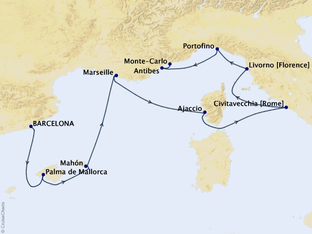 9-night Masterpieces of the Mediterranean Cruise Itinerary Map