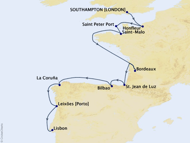 12-night Western Europe Cruise Map