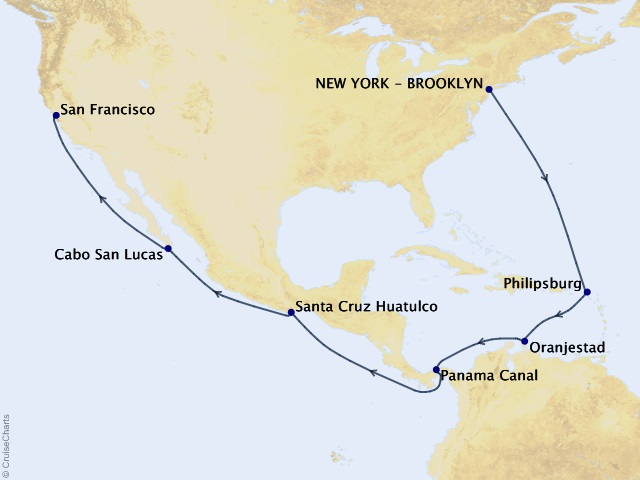18-night 2023 Centenary World Voyage Segment - New York to San Francisco Map