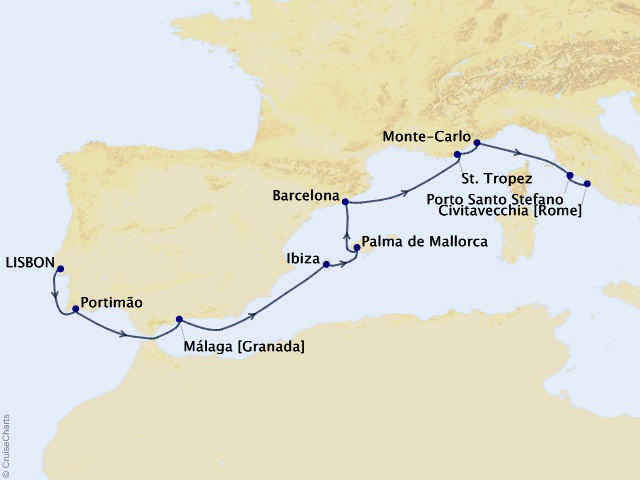 10-night Coastal Mediterranean Voyage Map