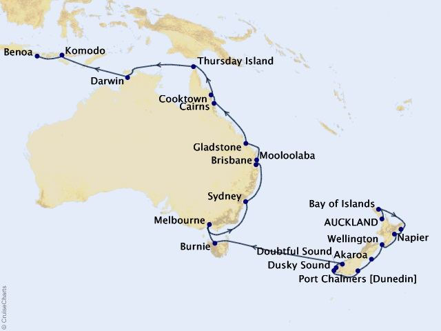 30-night Sails, Sounds, & The Sunshine Coast Cruise Map
