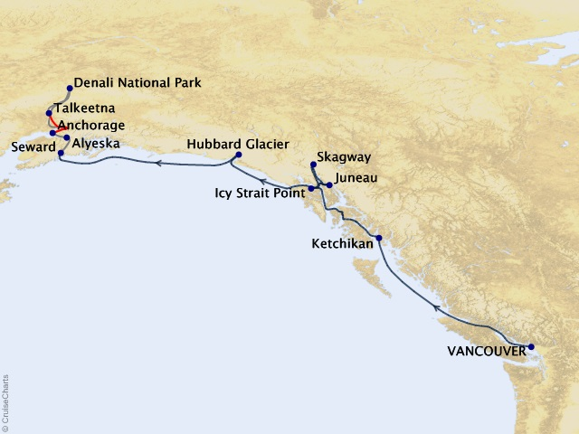 12-night Alaska Mountain Medley Cruisetour #5A