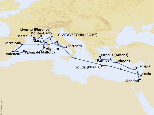 26-night Heavenly Vistas & Holy Lands Cruise Map