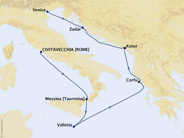 7-night Italy, Croatia, and Malta Cruise Map