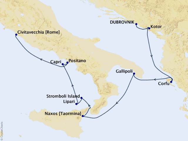 8-night Dalmatia to the Amalfi Coast Cruise Map