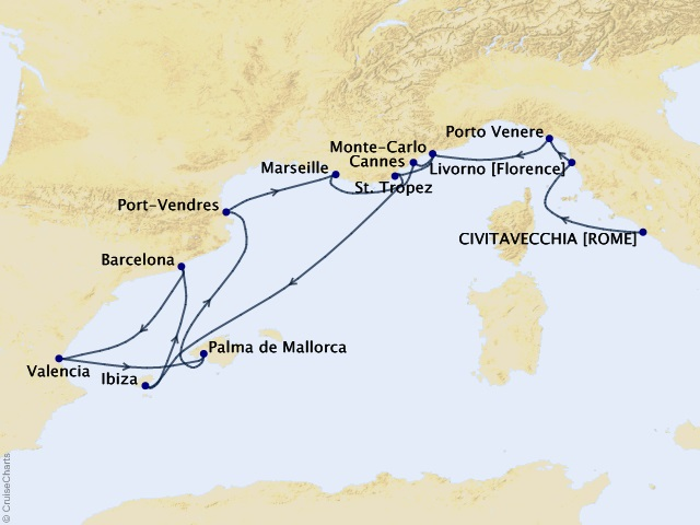 16-night Mediterranean Maestros Cruise Map
