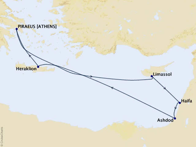 10-night Israel Intensive Voyage Itinerary Map