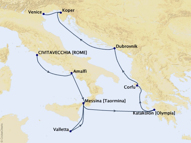 10-night Gladiators to Gondolas Voyage Map