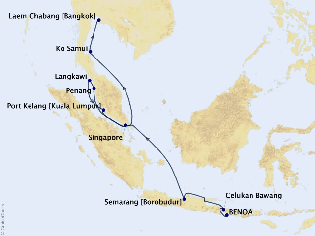 14-night Ancient Cultures and Modern Wonders Cruise Itinerary Map