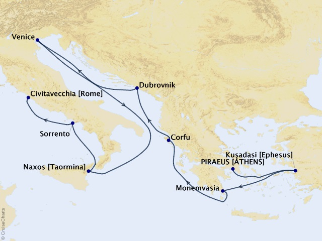 10-night Venetian Sunset Cruise Map