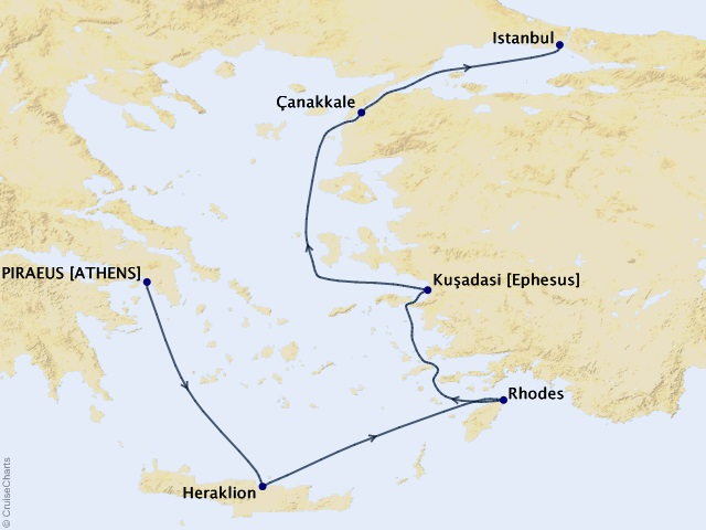 7-night Ancient Mediterranean Treasures Cruise Map