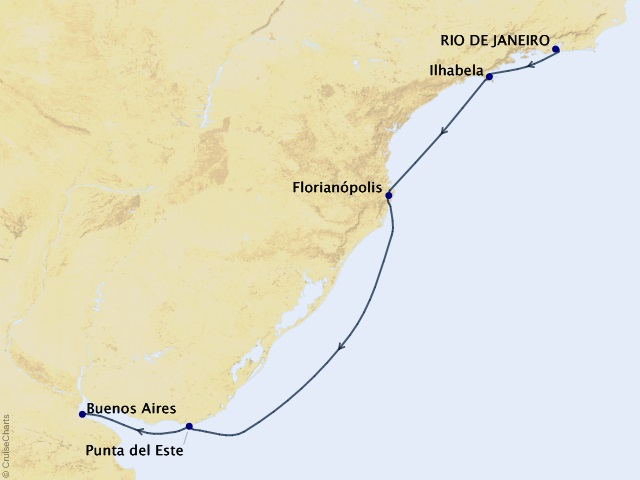 7-night South America Cruise Map