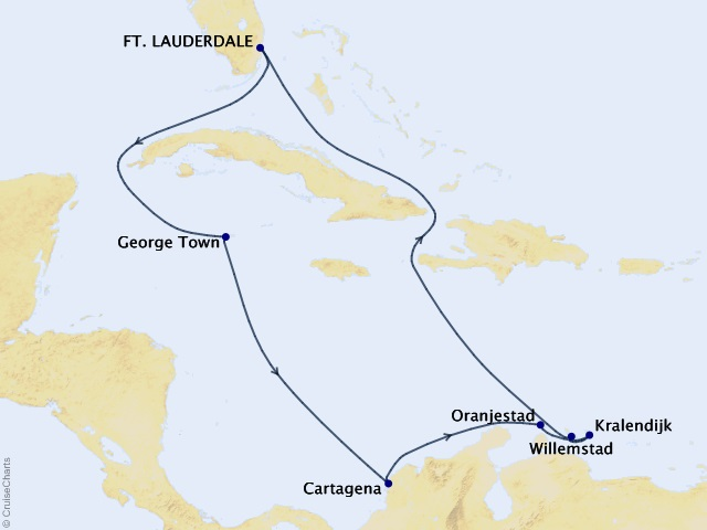 11-night Aruba, Bonaire, & Curacao Cruise Map