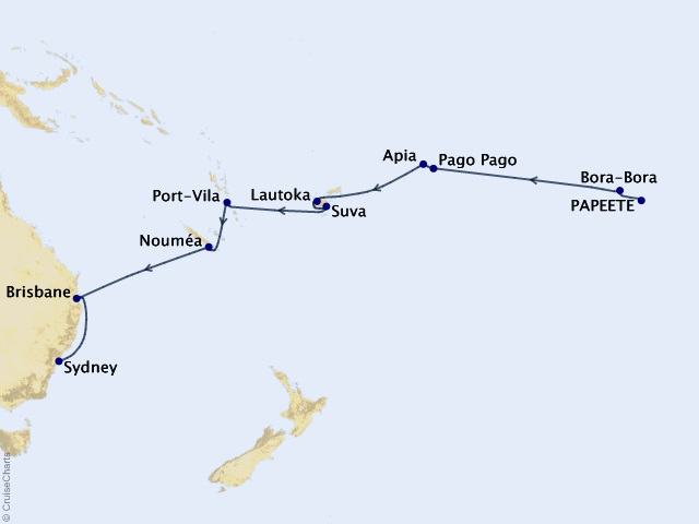 18-night Sublime South Pacific Voyage Map