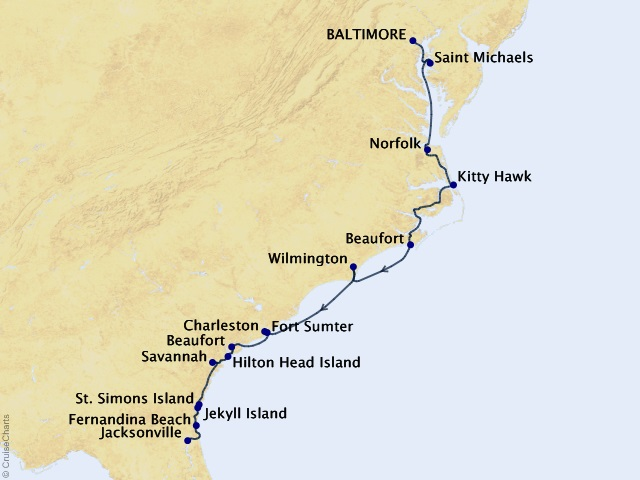14-night East Coast Inland Passage Cruise Map