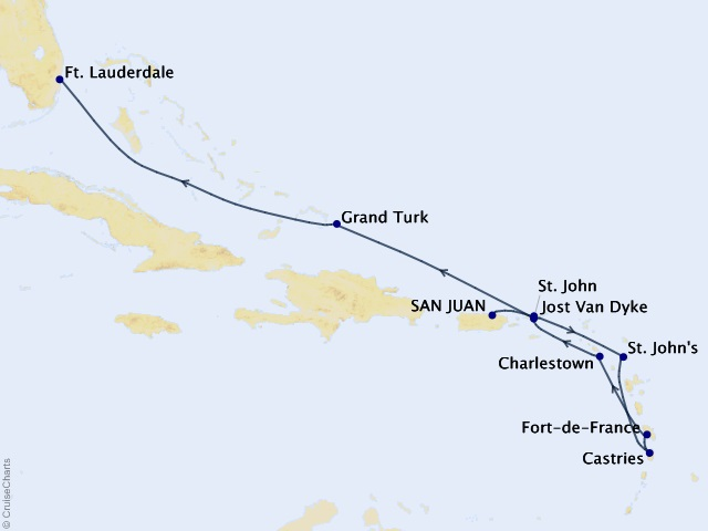 10-night Eastern and Southern Caribbean Cruise Itinerary Map