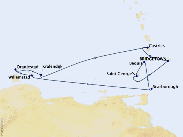 10-night Southern Caribbean Cruise Map