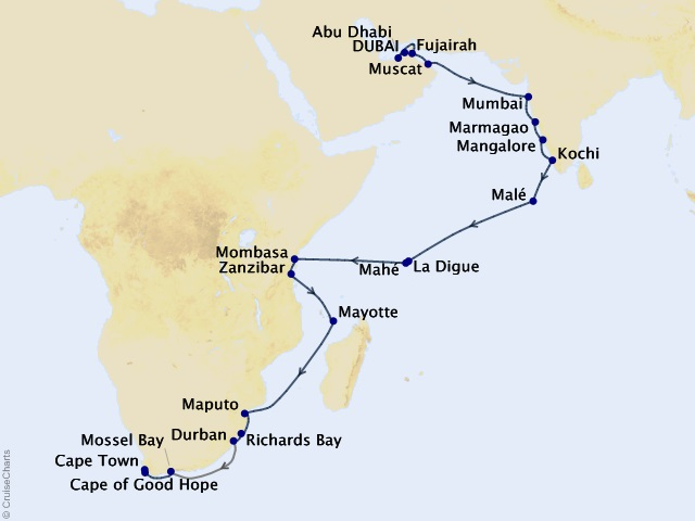 30-night Safaris and Celebrations Voyage Map