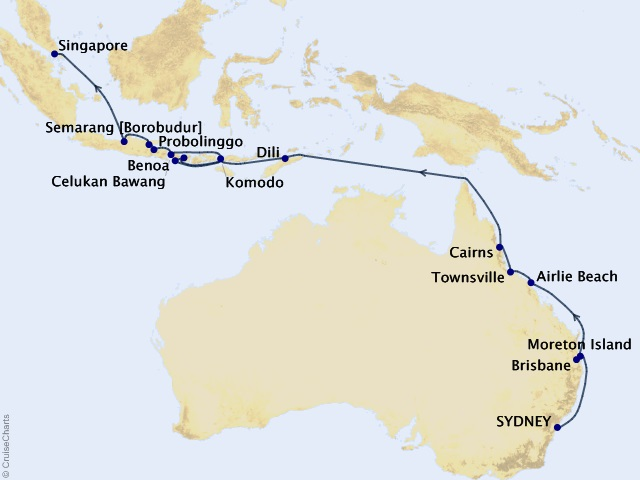 26-night Australia & Orchid Isles Cruise Map