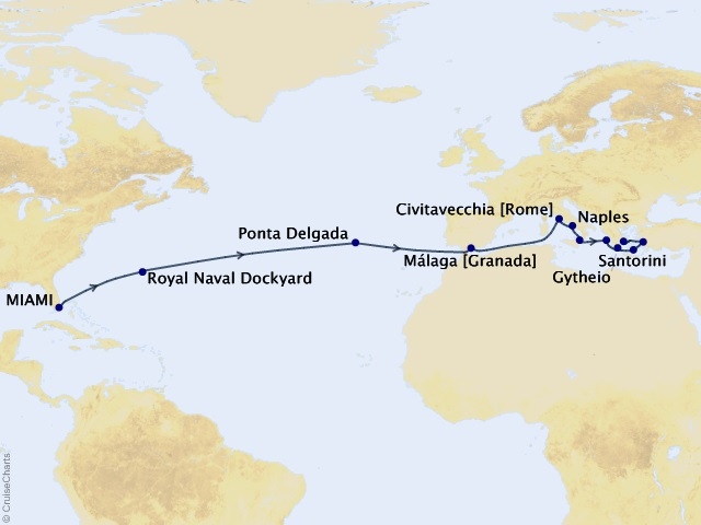 21-night Cavalcade of Culture Voyage Map