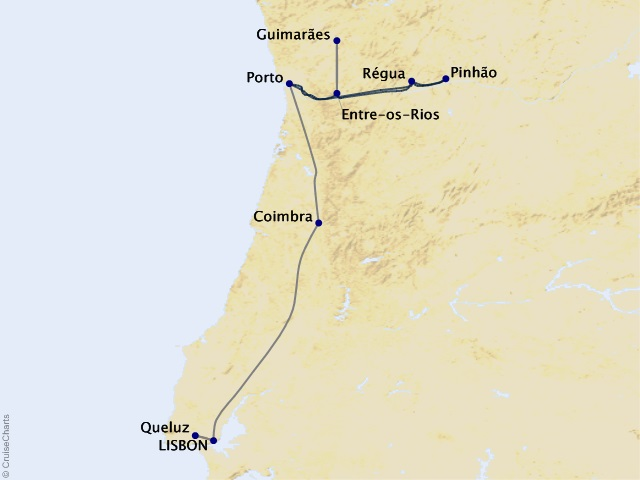 7-night Douro Discovery – A Family River Cruise in Portugal - Cruise/Land Package Map