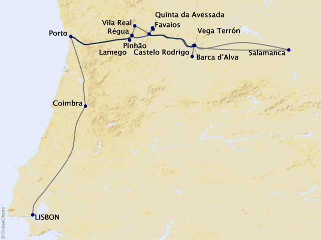 9-night Portugal's River of Gold River Cruise/Land Package Map
