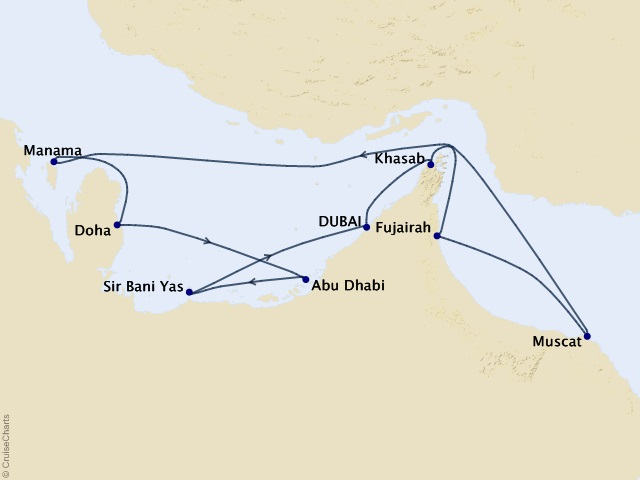 10-night Middle East Meandering Voyage Map