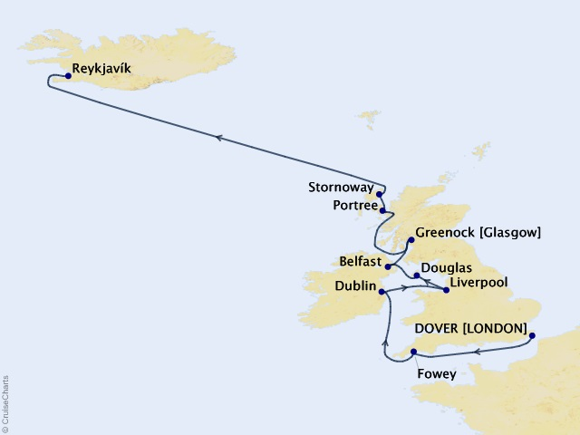 11-night British Isles Legacy Cruise Map