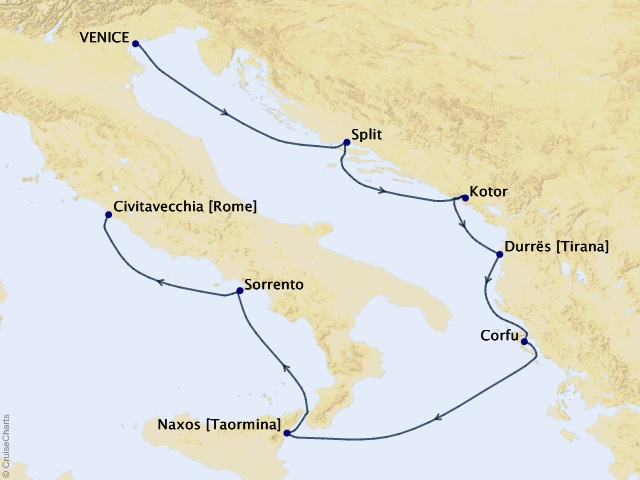 7-night Mediterranean Medley Cruise Map