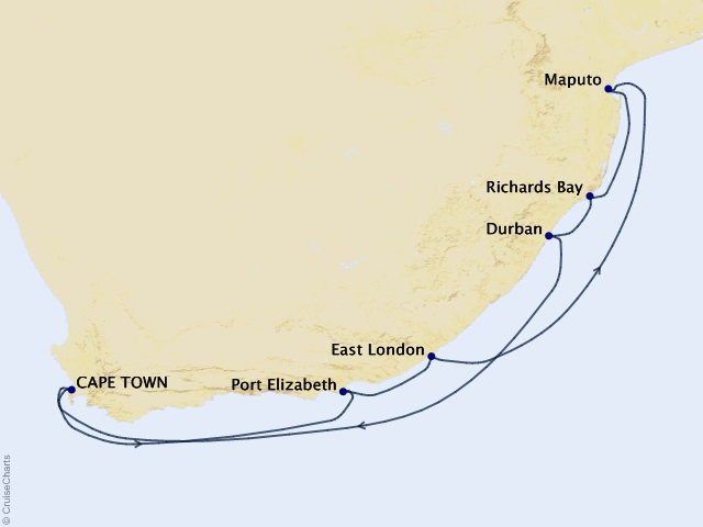 12-night South Africa Intensive Voyage Map