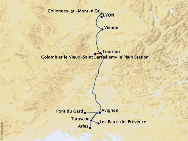7-night Colors of Provence Cruise Map