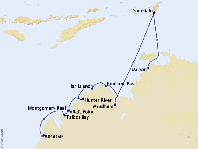 10-night Australia Cruise Map
