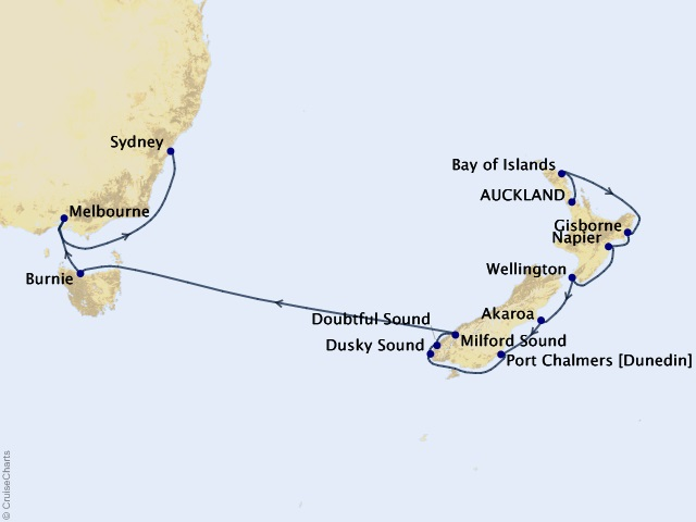 14-night Milford to Melbourne Cruise Map