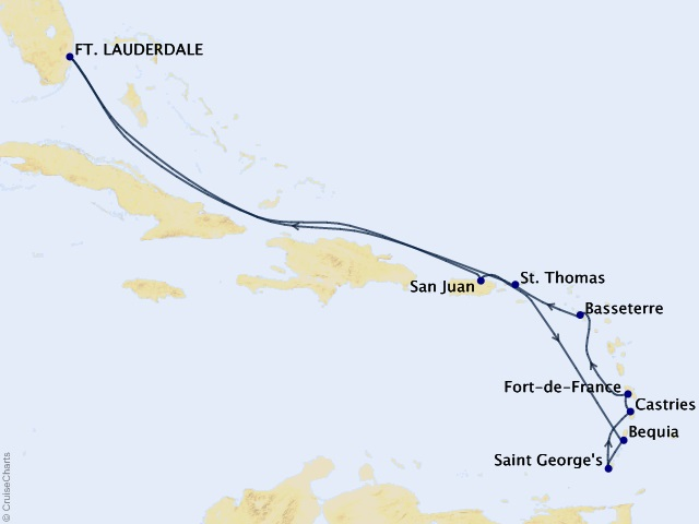 13-night Eastern and Southern Caribbean Cruise Map