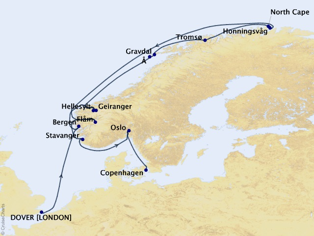 14-night North Cape Midsummer Cruise Map