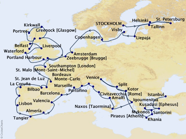 59-night Grand European Tour Cruise Itinerary Map