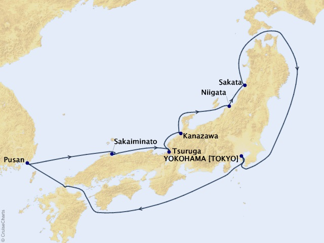 9-night Sea of Japan Spring Flowers Cruise Itinerary Map