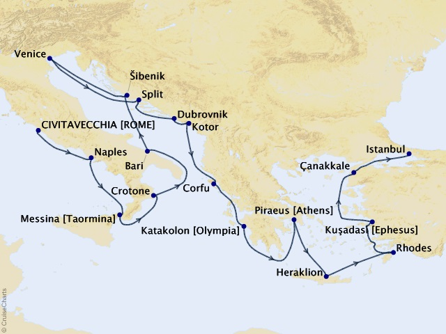 21-night Adriatic and Mediterranean Sojourn Cruise Map